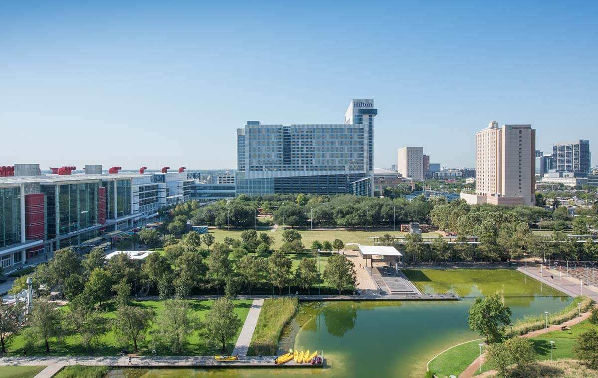 11Campus view of Discovery Green and George R Brown Convention Center